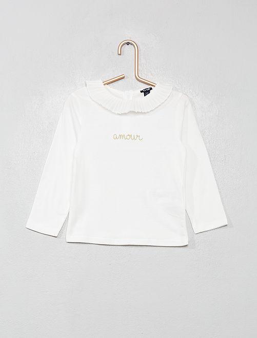 T-shirt col volanté                             blanc