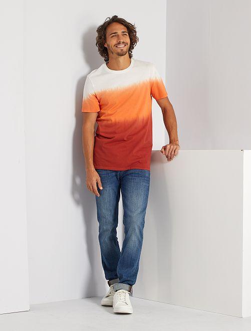 T-shirt color bloc 'éco-conception'                                         orange