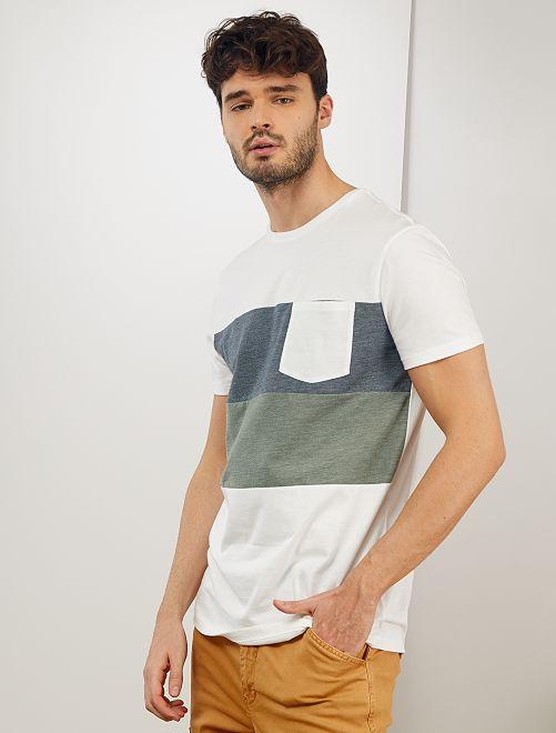 T-shirt color block +1m90                                         blanc/bleu/vert