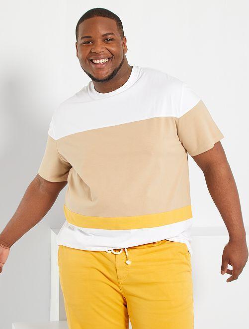 T-shirt color block                                         beige