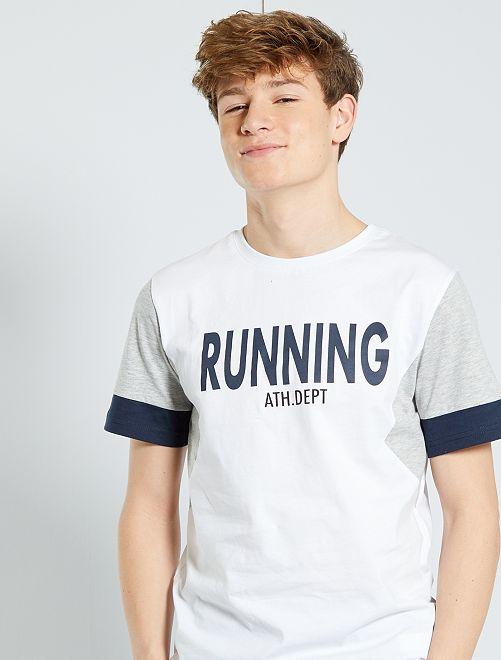 T-shirt color-block                                         blanc