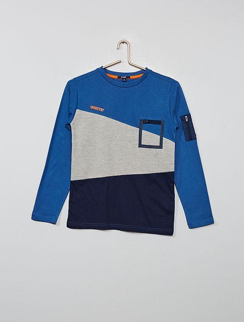 T-shirt color block                                         bleu