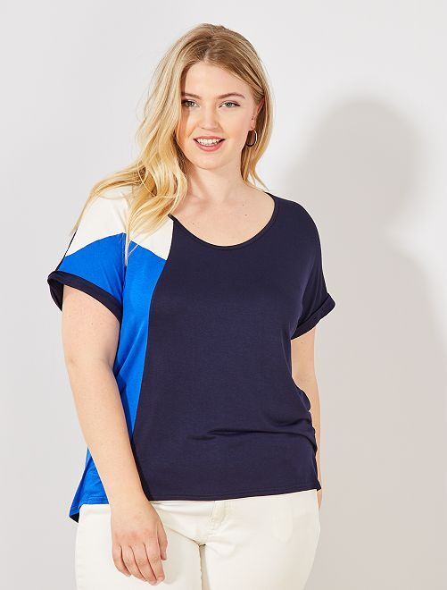 T-shirt color block                             bleu