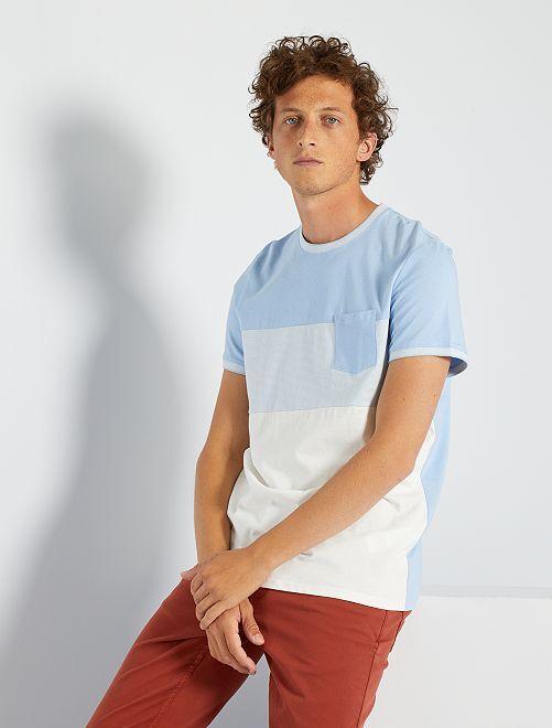 T-shirt color block                                                                 bleu/blanc