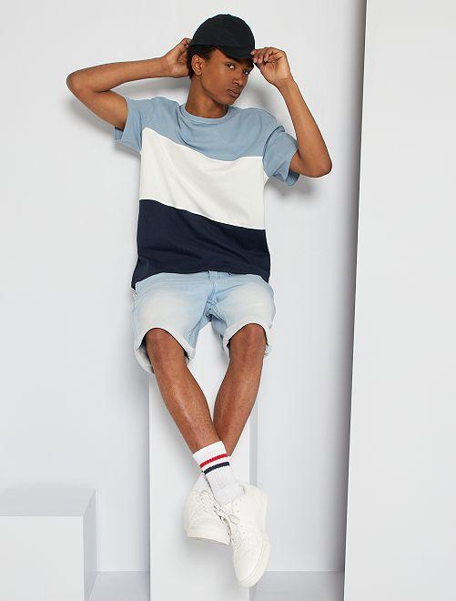 T-shirt color block                                                                 bleu/blanc/marine
