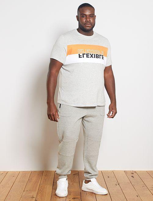 T-shirt color block 'éco-conception'                                         gris/orange/blanc