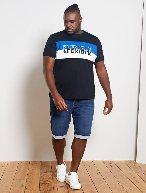 T-shirt color block 'éco-conception'                                         noir/bleu/blanc