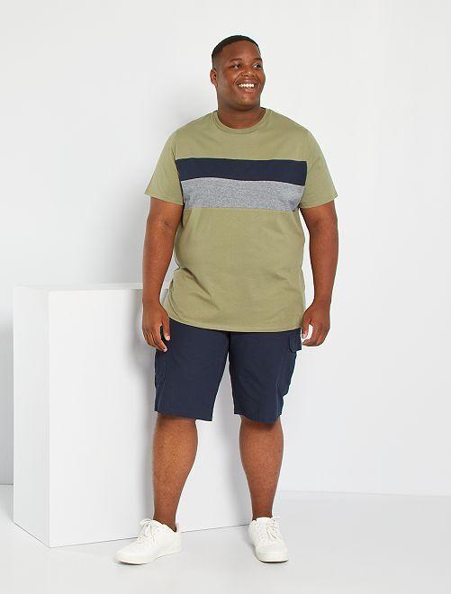 T-shirt color block éco-conçu                                         kaki