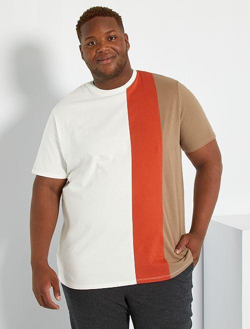 T-shirt color block                                         écru/rouge/marron