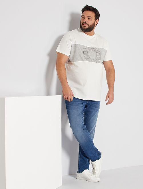 T-shirt color block embossé                                         blanc/gris