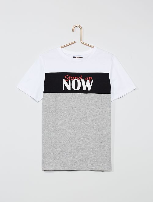 T-shirt color-block                                                                             gris/blanc