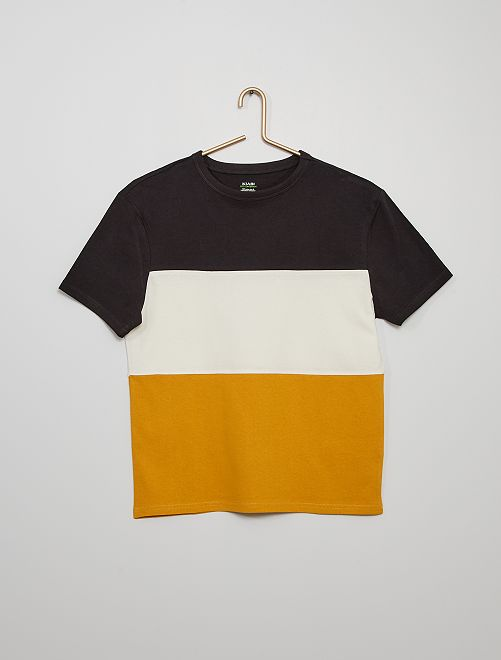 T-shirt color block                                                                 gris/blanc/jaune
