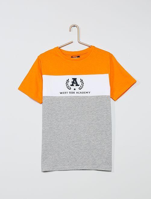 T-shirt color-block                                                                             gris/orange
