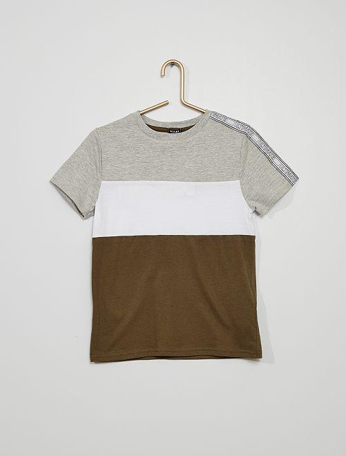 T-shirt color block                                         kaki