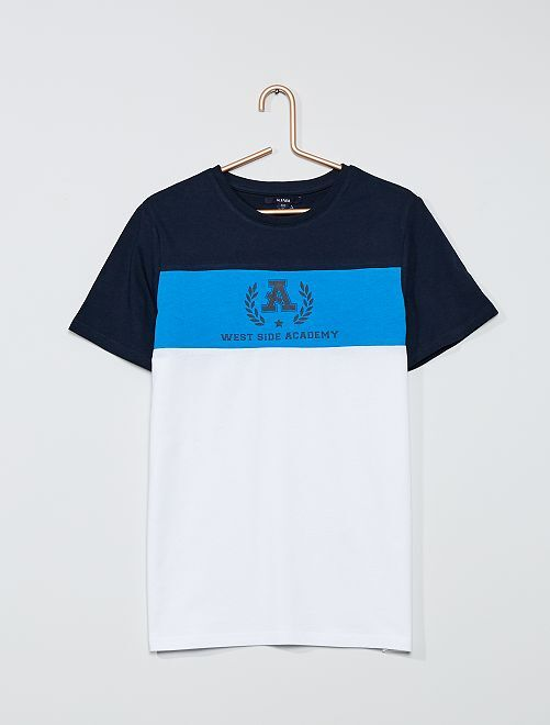 T-shirt color-block                                                         marine/bleu