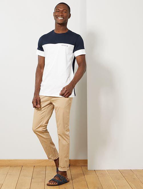 T-shirt color block message                                                     bleu marine/blanc
