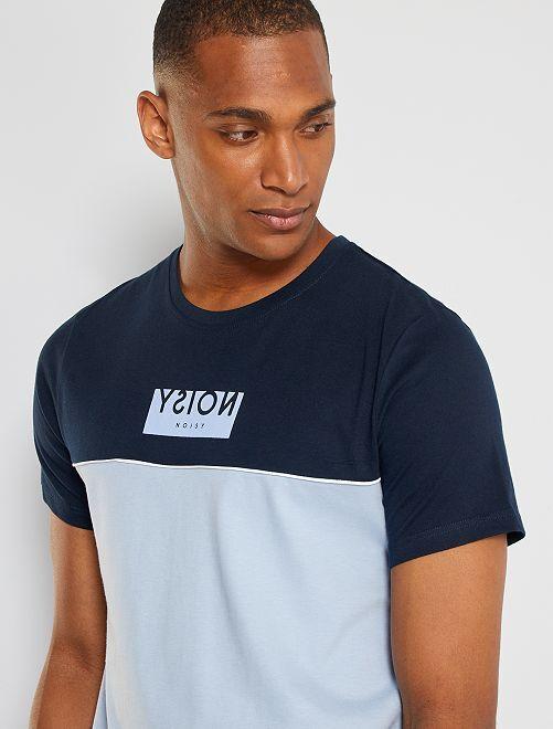 T-shirt color block message                                                                 bleu marine/bleu pâle