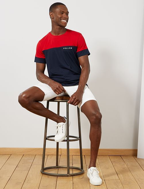 T-shirt color block message                                                                 rouge/bleu marine Homme