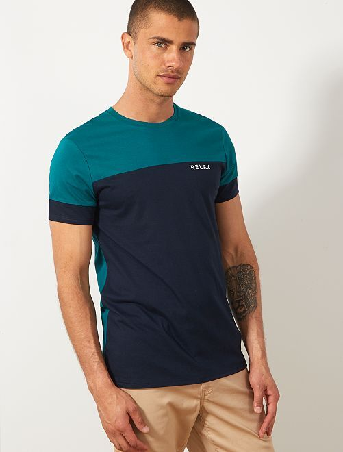 T-shirt color block message                                                                 vert/bleu marine Homme