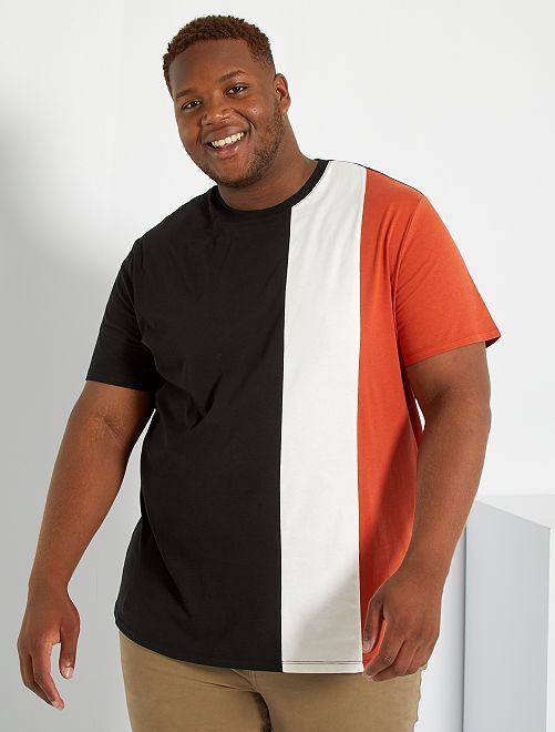 T-shirt color block                                         noir/écru/rouge