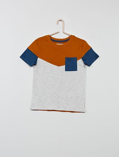 T-shirt color block                                                                             orange Garçon