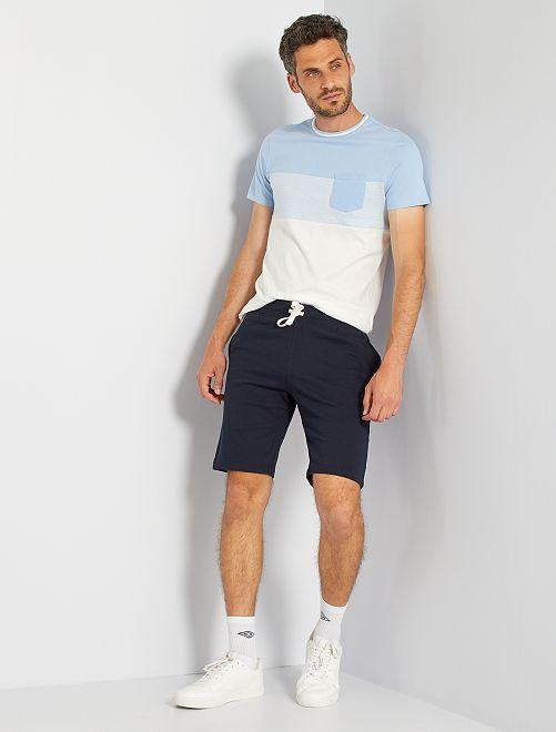 T-shirt color block poche poitrine                                                                 bleu ciel