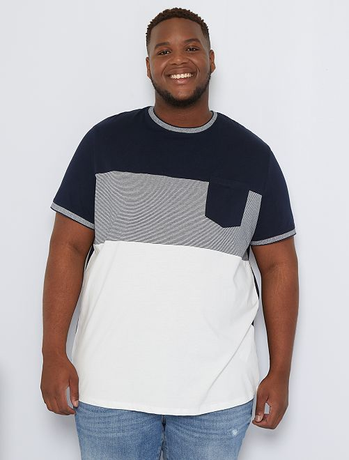 T-shirt color block poche poitrine                                         bleu marine/écru