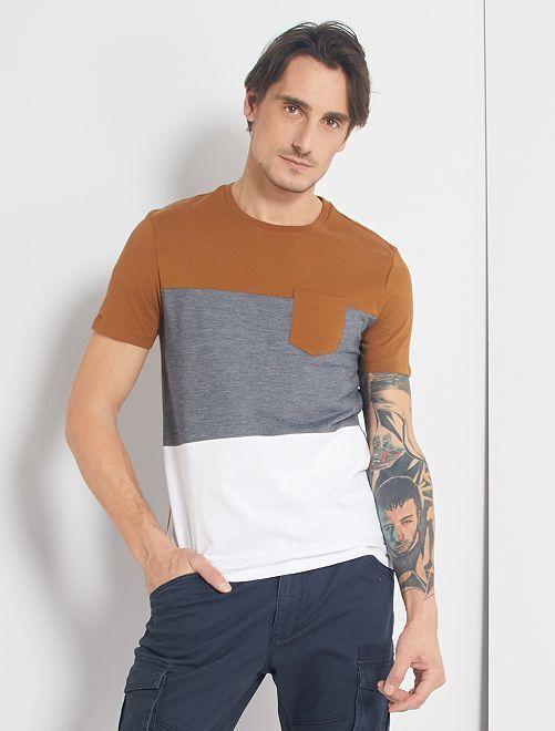 T-shirt colorblock                                                                 beige/bleu/blanc