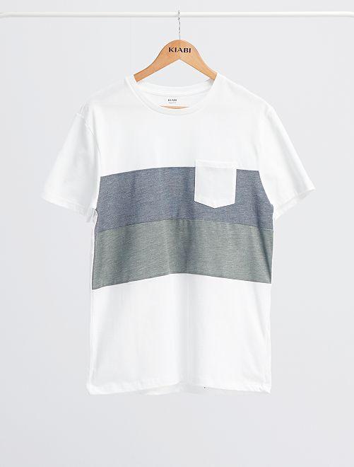 T-shirt colorblock                                                                 blanc/bleu/vert