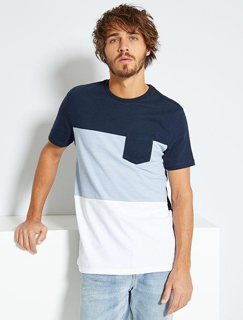 T-shirt colorblock                                                                 bleu marine/bleu gris/blanc