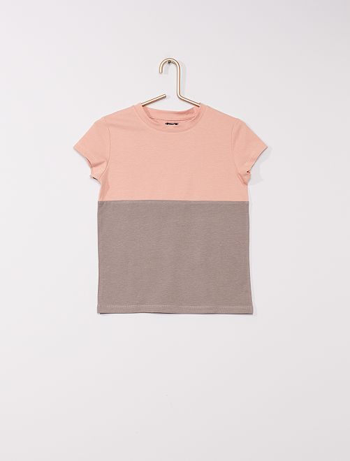 T-shirt colorblock                                                     gris/rose