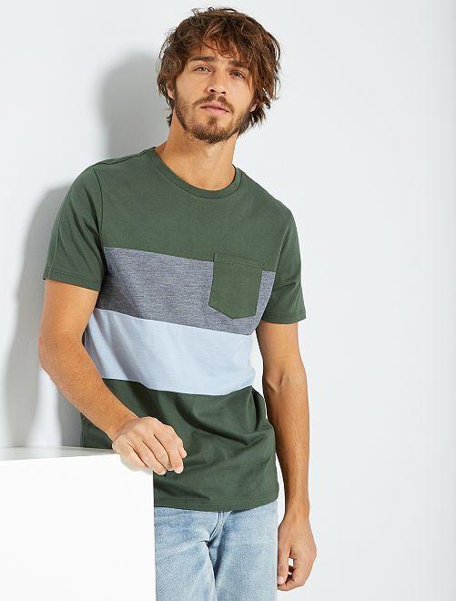 T-shirt colorblock                                                                 kaki/bleu/bleu gris