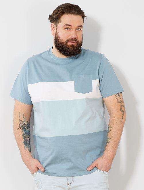 T-shirt comfort colorblock                                         bleu gris/blanc Grande taille homme