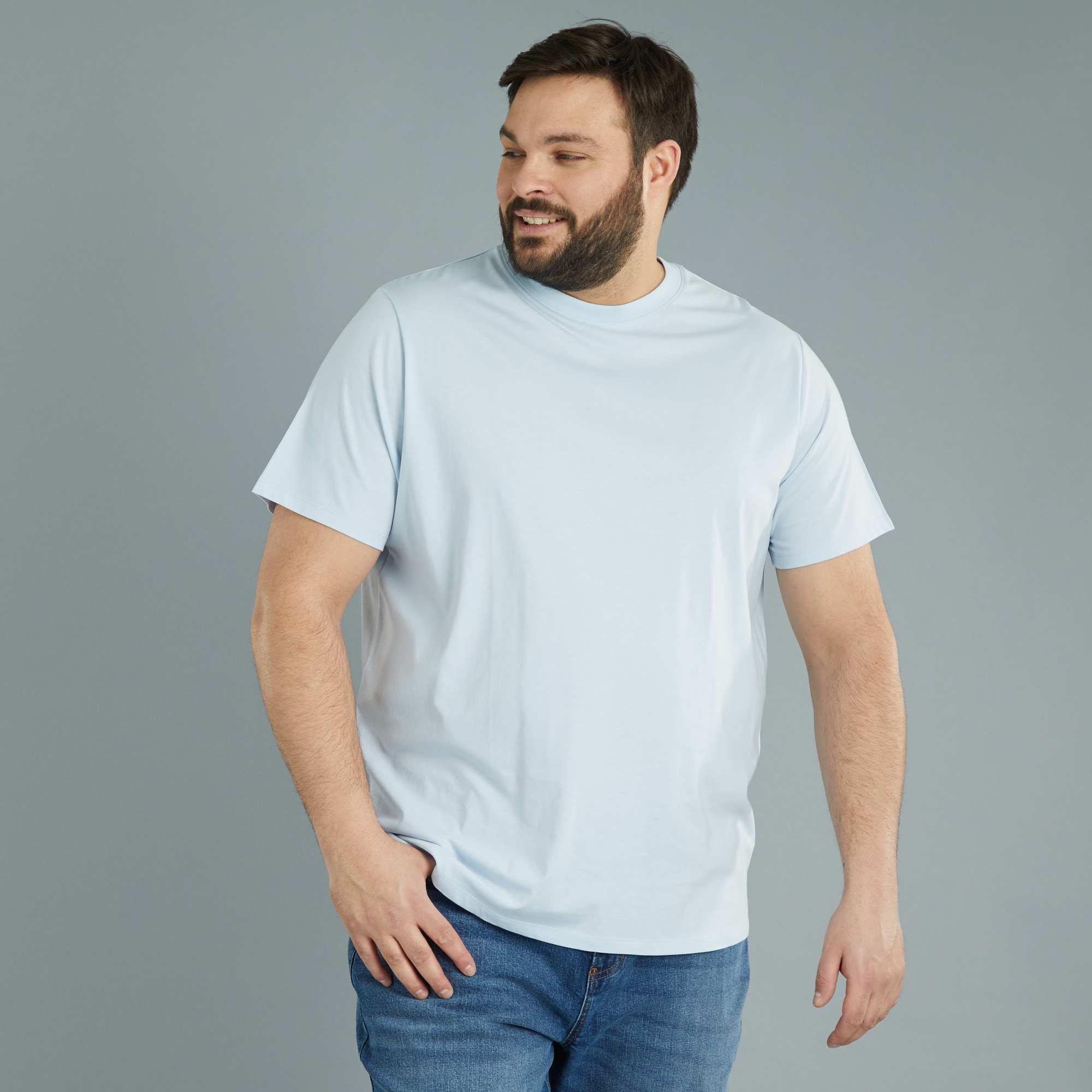 Couleur : bleu très clair, jaune gold, blanc,noir,gris chiné - Taille : 4XL, 3XL, 5XL,6XL,7XLL'indispensable du vestiaire masculin : le T-shirt col rond classique en coton,