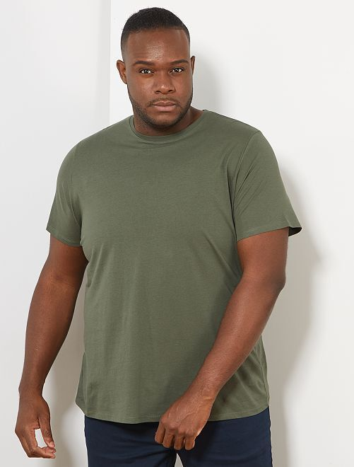 T-shirt comfort en jersey                                                                                                                                                                                                     kaki Grande taille homme