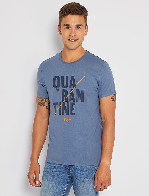 T-shirt 'confinement' éco-conçu                                         bleu