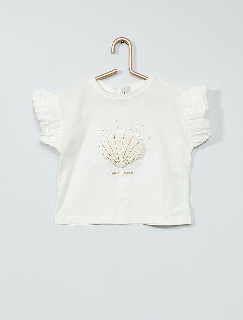 T-shirt 'coquillage' à volants                     blanc