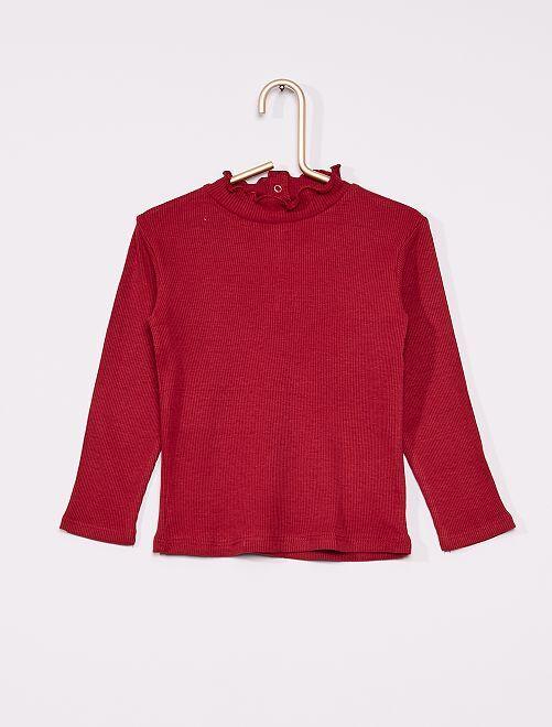 T-shirt côtelé à col froncé                                                                 rouge bordeaux
