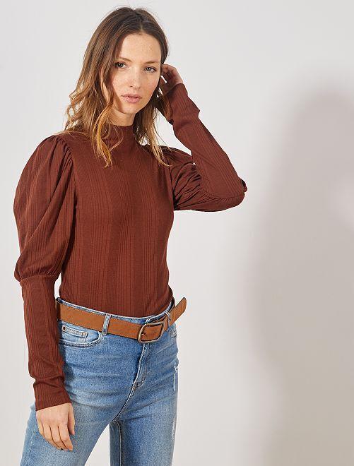 T-shirt côtelé à col montant                                         marron