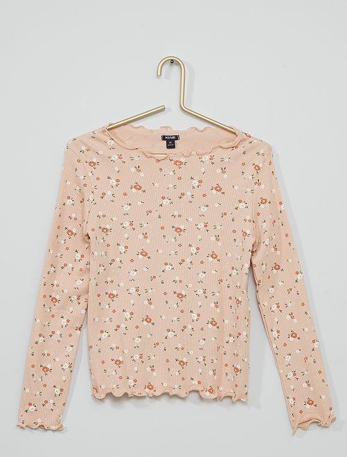 T-shirt côtelé à fleurs                                         rose