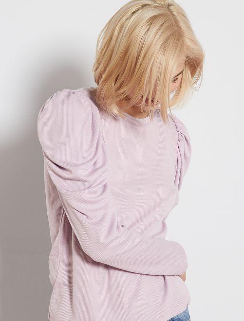 T-shirt côtelé à manches gigot                                         mauve lilas