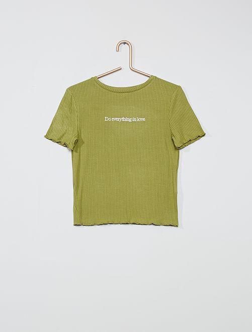 T-shirt côtelé à message                             kaki