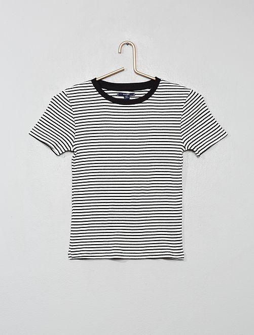 T-shirt côtelé à rayures                                                                                                                 rayé/noir/blanc