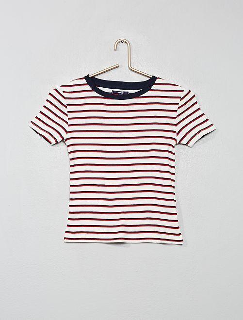 T-shirt côtelé à rayures                                                                                                                 rayé/rouge/blanc