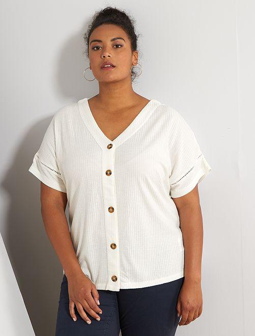 T-shirt côtelé avec boutons                                         blanc
