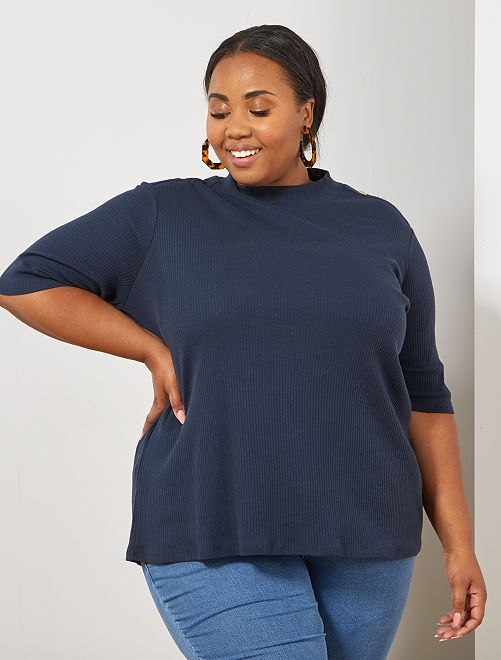 T-shirt côtelé avec boutons                                         bleu marine