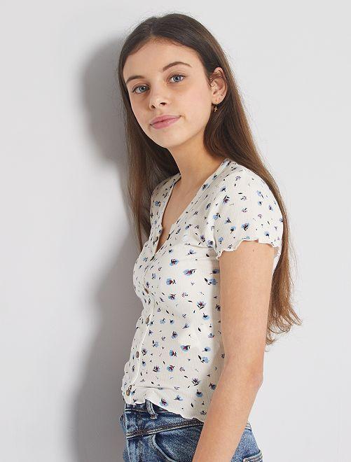 T-shirt côtelé avec boutons                                                                                         écru fleuri