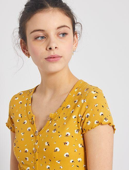 T-shirt côtelé avec boutons                                                                             jaune fleuri