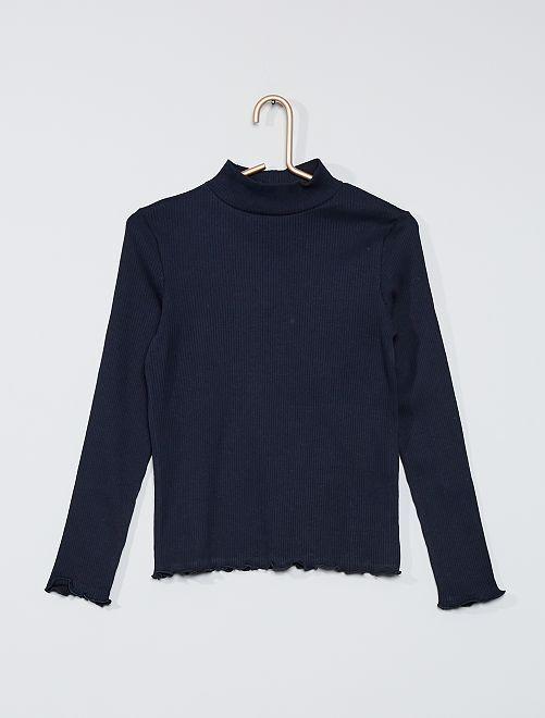 T-shirt côtelé                                                                             bleu marine