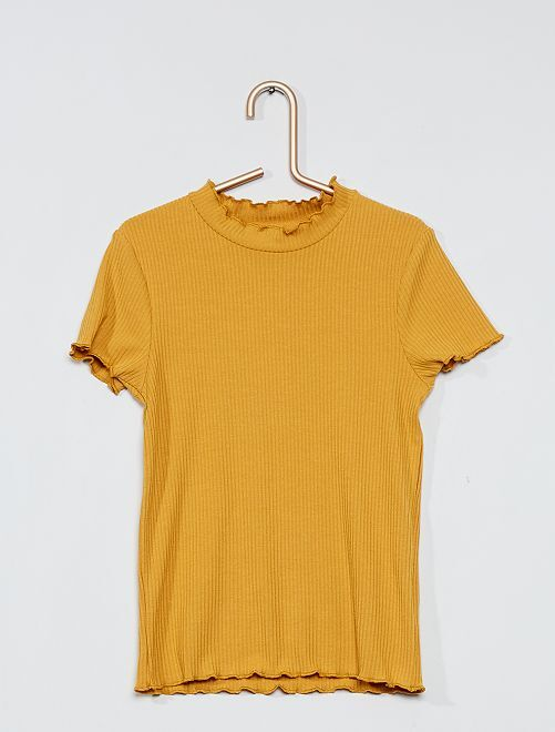 T-shirt côtelé bords volantés                                         ocre